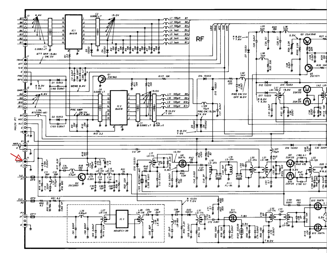 Modifications To The Ic 751a For Digital Modes Squash Practice Basic Vox Circuit Controls Ptt Rf Section Schematic Showing Scop Connection